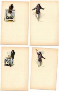 NANNI signée par artiste GLAMOUR LADY jouand du TENNIS série de 6 CPA