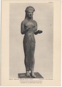 ETRUSCAN GODDESS, an early example of Bronze-casting, British Museum, Postcard