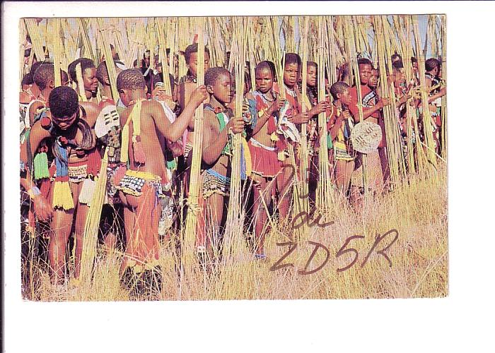Black Boys in Costume, Swaziland,  QSL ZD5R, VE3EWY Mbabane, 1968