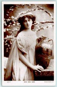 RPPC Actress Zena Dare~Mrs Higgins in My Fair Lady~Poses w/Pottery Vase~c1928 PC
