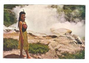 Maori woman at Papakura Geyser, Rotorua, New Zealand, 50-70s
