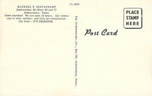 1940s / 50s US Linen, Kloesel's Restaurant, Schulenburg, Texas, Ammann Adv. Co