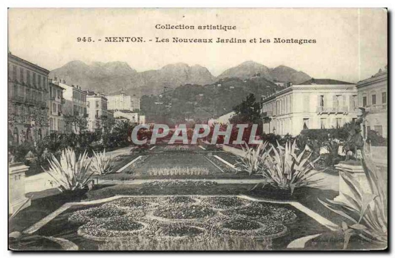 Old Postcard Menton The new gardens and mountains