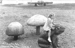 RPPC TOTEM POLE PARK Crescent City, CA Frog, Mushrooms c1950s Patterson Postcard