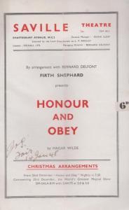 Honour & Obey Firth Shephard Drama Saville London Theatre Programme
