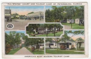 All States Court Tourist Camp St Petersburg Florida 1939 postcard