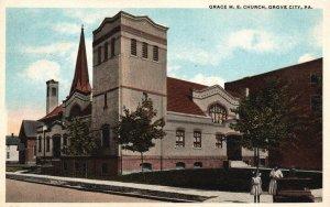 Grove City, Pennsylvania, PA, Grace M.E. Church, 1920 Vintage Postcard h2283