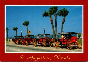 Florida St Augustine Carriages On The Bayfront Near The Bridge Of Lions
