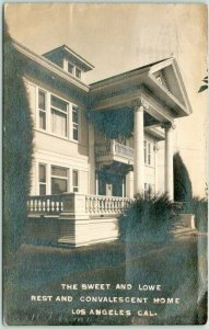 1912 LOS ANGELES, CA Real Photo RPPC Postcard SWEET AND LOWE Convalescent Home