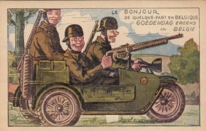 BELGIUM, 1900-10s; Soldiers in jeep with gun somewhere in Belgium, pop-out views