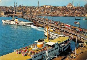 Turkey Istanbul Galata Bridge New Mosque and Suleymaniye Ship Schiff