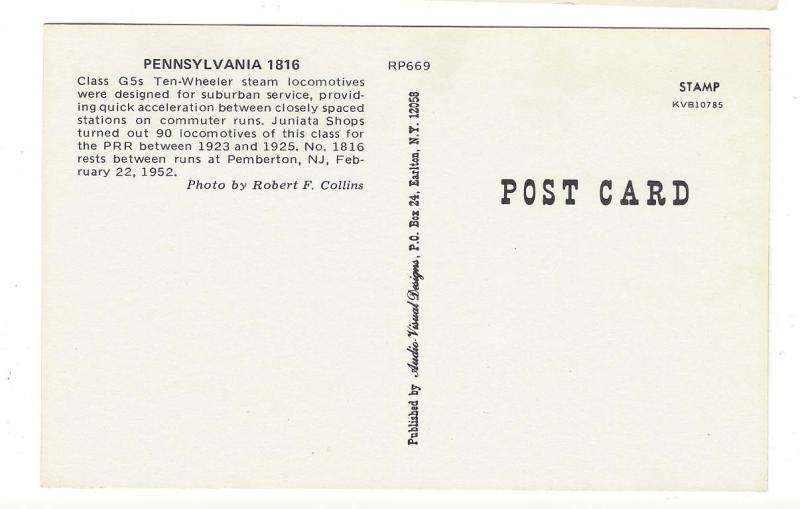 Pennsylvania Railroad PRR G5 Ten Wheeler Locomotive 1816