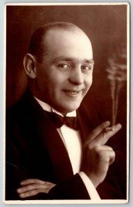 RPPC Actor? w/Bowtie~Holds Cigarette Between Fingers~Ice Cream Cone Smoke~1920s