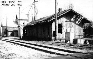 Arlington Indiana B and O Train Depot Real Photo Vintage Postcard JF686489