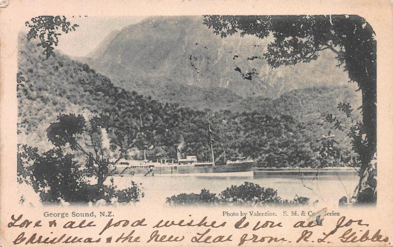 George Sound, New Zealand, Valentine's Postcard, Used in 1905, Sent to N.Y.C.