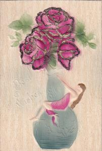 Art Nouveau; Woman wrapped around a vase of roses , 00-10s