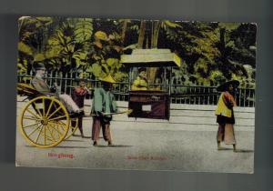 1909 Mint  China picture color  Postcard Hong Kong Sedan Chair Rickshaw