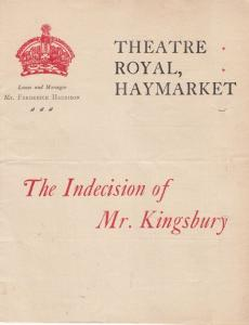 The Indecision Of Mr Kingsbury Old Comedy 1902 London Haymarket Theatre Progr...