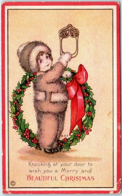 1915 Artist-Signed M.E. PRICE Postcard BEAUTIFUL CHRISTMAS Girl Wreath UNUSED