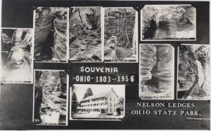 Ohio Real Photo RPPC Postcard c'50 NELSON LEDGES STATE PARK 9Views Cascade House