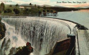 Vintage Postcard 1911 Sweet Water Dam Masonry Arch San Diego California CA