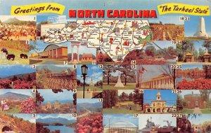 Greetings from North Carolina USA Map Unused