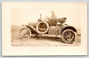 Real Photo Postcard~Mr Nickols in His Tin Lizzie Car~Automobile c1914 RPPC