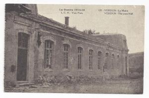 WWI France Verdun Town Hall after Bombardment 1918 Postcard