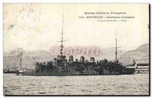 Old Postcard Boat War Pothuau Cruiser Breastplate