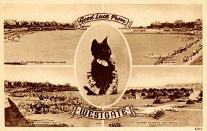 Vintage Kent Multi View Postcard, Good Luck from Westgate On Sea, Black Cat AP9