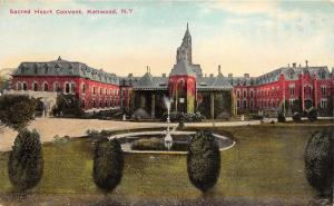 Kenwood New York~Sacred Heart Convent~Fountain in Lawn~c1910 Postcard