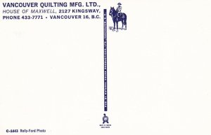 VANCOUVER , B.C. ,1950-60s ; Vancouver Quilting Mfg Ltd.