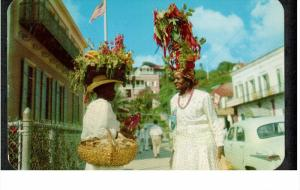 Natives display wares on top of head, St. Thomas, US Virgin Islands 1959 PU