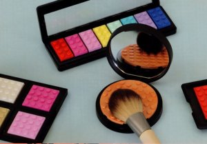 Girls Make Up Box Eye Mascara Shadow Brush Childrens Lego Display Postcard