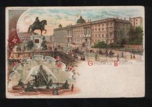 056051 GERMANY GRUSS BERLIN Vintage lithograph PC