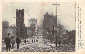 California Street Scene San Francisco CA 1906 Earthquake & Fire Vintage Postcard