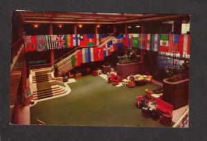 Lobby Hotel Del Prado Mexico City Tarjeta Postal Postcard Mexican Flags Nations