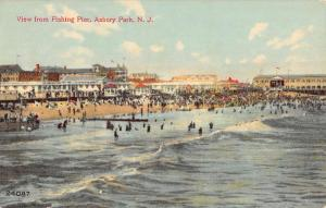 Asbury Park New Jersey View From Fishing Pier Beach Antique Postcard K51827