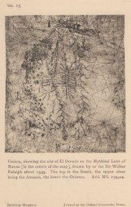 Guiana El Dorada Lake Of Manoa Sir Walter Rayleigh Old Map Postcard