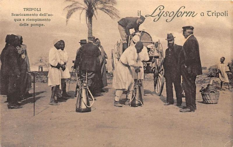 Libya Tripoli advertising card Lysoform , water sellers