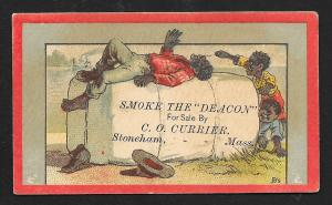 VICTORIAN TRADE CARD Currier Deacon Tobacco Black Boys Playing on Tobacco Bale