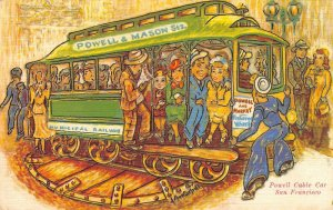 San Francisco, CA POWELL CABLE CAR Cantrell Artist-Signed Comic Vintage Postcard