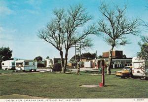 Castle View Caravan Park Pevensey Sussex 1970s Camping Postcard
