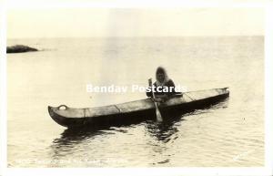 Alaska, Native Eskimo Man with his Kyak Kayak (1950s) RPPC