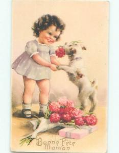 foreign Old Postcard FRENCH GIRL PLAYING WITH HER LITTLE DOG AC3388