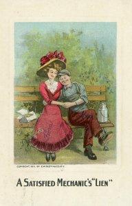 Antique Postcard 1910s A Satisfied Mechanic's Lien couple on bench Utah