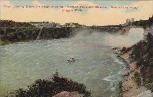 New York Niagara Falls View Looking Down The Gorge Showing American Falls And...