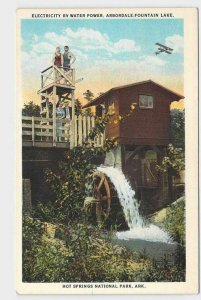 PPC POSTCARD ARKANSAS ELECTRICITY BY WATER POWER ARBORDALE FOUNTAIN LAKE HOT SPR