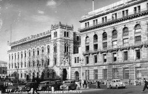 RPPC Edificio de Correos y Banco de Mexico 1959 Vintage Postcard