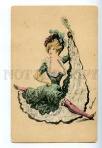 150233 Art Nouveau CIRCUS CABARET split Dancer by GONELLA old